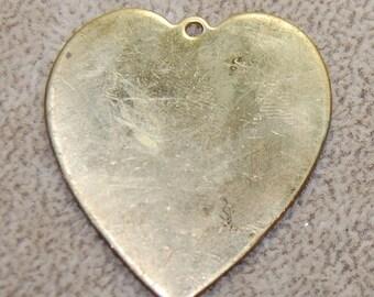 Vintage 2 Huge Brass Heart Glue On Blank Charms 43x38mm KR5