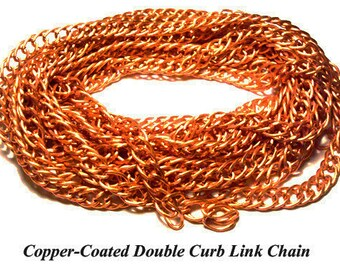 Vintage 3 Feet Copper Coated Double Link Chain AR6