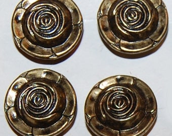 Vintage 4 Aged Brass Rose 15mm Buttons M1L