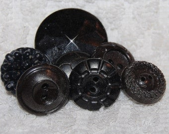 Vintage 7 Black and Dark Brown Art Deco Buttons M2L