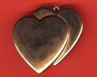 Vintage 4 Adorable Double Heart Aged Brass 41x43mm Pendants AM1