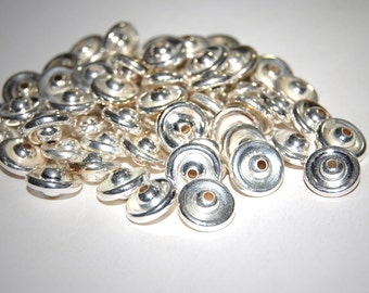 Vintage Lot of 36 Silver Plated Spacer Beads12X6MM   D4