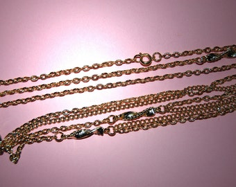 Vintage Lot of 6 Gold Plated Fancy Charmed 48 Inch Long Necklaces  CL3 A