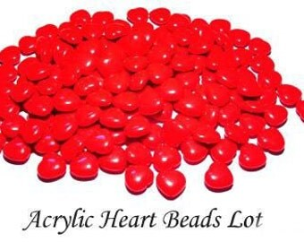 Vintage 20 Acrylic Red Heart Shaped Beads 15mm   EL1