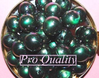 Vintage Lot of 10 Aboreal Dark Green 16MM Beads ER2