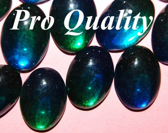 Vintage 12 Phalo Green and Phalo Blue Mirror Back Acrylic Oval Cabochons  25X18MM  FL6