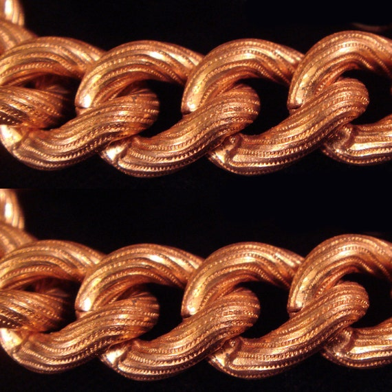 Vintage 3 Feet Extra Fancy Unique Rare Impossible to Find Large Swirl Embossed Copper Coated Chain M2L