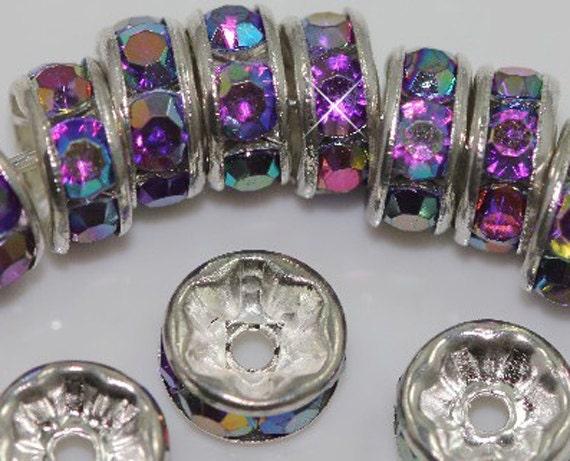Vintage 10 Silver Plated AB Dark Amythyst Crystal Spacer 8mm Beads GR8