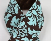 DSLR Camera Strap Sleeve Cover - Turquoise and Brown Damask WITH Chocolate Minky strap cover