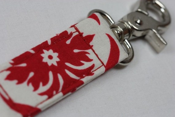 Key Chain / Key Fob - Red Damask
