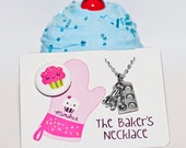 The Bakers Necklace - Cupcake Muffin Pan & Tiny Measuring Spoons Charms, Baking Jewelry, Baking Gifts, Cooking Themed Jewelry