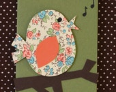 Songbird Mini Card - Orange Cream Floral