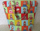 Insulated Lunch Bag / Sock Monkey Portrait / insulated lunch Tote / Kids Lunch box -  gone Bananas