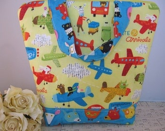 Colorful Airplanes Kids  Insulated Lunch bag /  Whimsical  / insulated lunch tote /  eco lunch bag