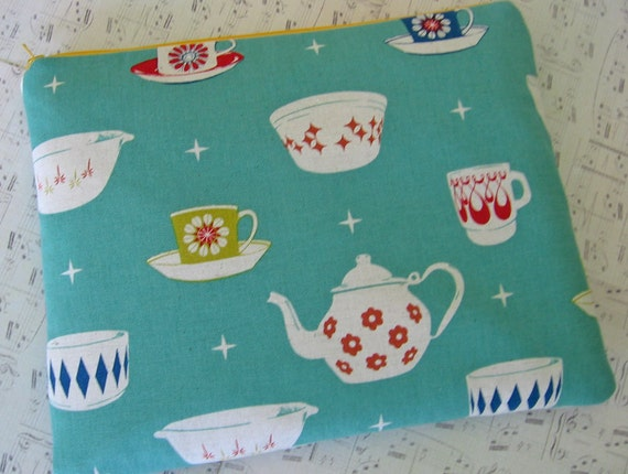 Macbook Pro Cover 13 inch laptop sleeve/ Padded case in aqua Teacups