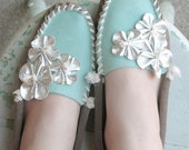 Aqua and Silver Pow Wow Princess Moccasin - Women's Sizes 5-11