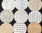 Vintage Paper Circles- 50 foreign language paper circles, table confetti, wedding confetti, travel theme party decorations, recycled books