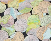 World Map Circles- 50 paper map circles, vintage world atlas punches, travel party decoration, wedding table confetti, recycled paper hearts