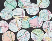 Map Paper Circles- 100 United States 1 inch paper circles, vintage craft supplies, map confetti, party decorations, party decor