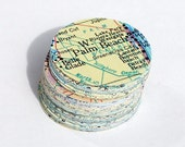 Paper Map Circles- 100 1 inch vintage United States atlas map paper circles. travel party decorations, map wedding confetti, craft supplies