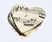 Music Paper Hearts- 50 vintage large sheet music hearts, vintage craft supplies, Valentine's day decor, wedding confetti, party decorations