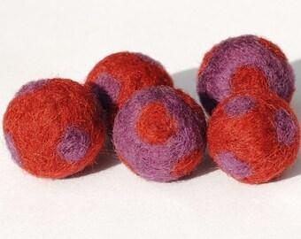 Wool Felt Beads- rust and purple polka dot felted beads, felt balls, wool beads, needle felted beads,