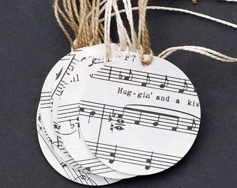 Sheet Music Gift Tags- 15 recycled vintage sheet music tags, wedding favor tags, music party favor tags, round circle hang tags