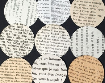 Language Paper Circles- 50 foreign language paper circles, table confetti, wedding confetti, travel theme party decorations, recycled books