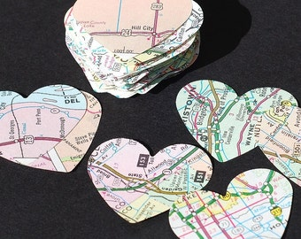 Map Paper Hearts- 50 road atlas paper hearts, party decor, Valentine decorations, wedding table confetti, recycled paper hearts, map hearts