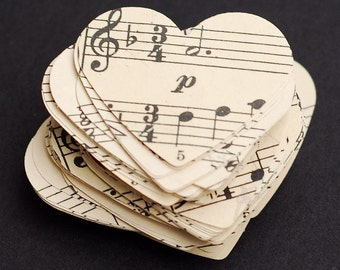 music paper hearts- vintage craft supplies, 100 vintage sheet music paper hearts, Valentines Day decorations