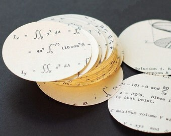 calculus paper circles- vintage craft supplies, 100 math paper circles, math decorations