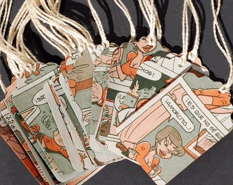 Spanish Comic Book Gift Tags- 15 recycled Chilean Condorito comic book tags, Spanish gift tags, vintage paper tags, party favor tags