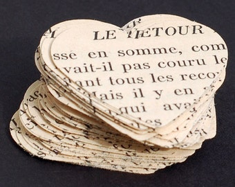 French Paper Hearts- French hearts, French party decorations, French wedding confetti, table confetti, valentine, vintage craft supplies