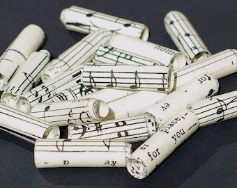 recycled paper beads- 15 vintage sheet music paper beads
