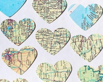 Paper Map Hearts- 100 atlas United States map paper hearts, travel party decorations, wedding confetti, valentine decoration, craft supplies