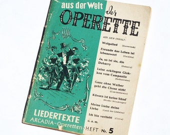 Vintage German Opera Lyric Book- music book, German book, song book, opera lyrics, German language book, libretto, operetta book pages