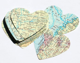 Map Paper Hearts- 50 vintage atlas world map large hearts, party decorations, wedding table confetti, travel theme party, recycled