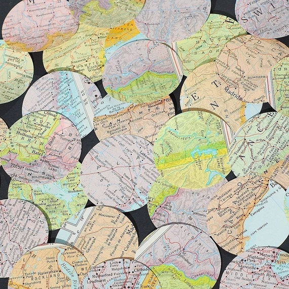 map paper circles- 50 vintage world atlas punches craft supplies