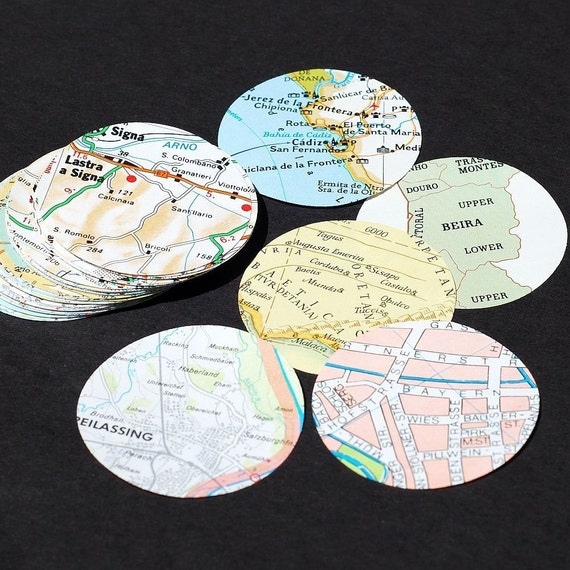 Europe Map Paper Circles- 50 European map paper circles, scrapbooking craft supplies, map party decor, wedding decorations, recycled paper