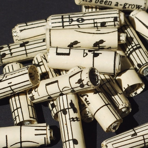 Music Paper Beads- 15 vintage sheet music beads, recycled paper beads, rolled paper beads