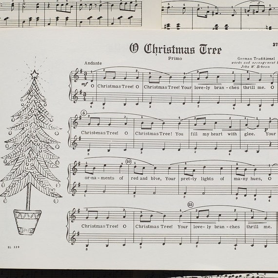 Vintage sheet music illustrated christmas by tanithsoddsandends