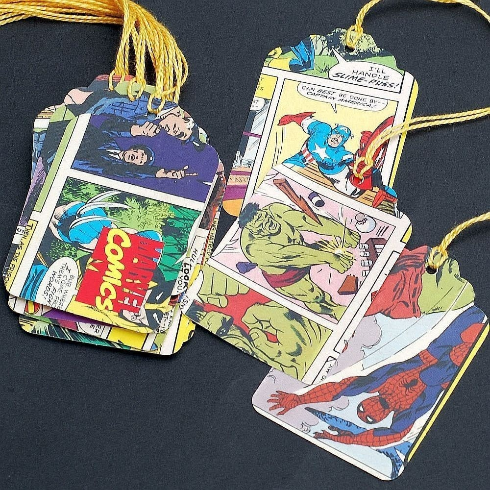 Matrimonio Tema Marvel : Marvel comics super hero recycled gift tags