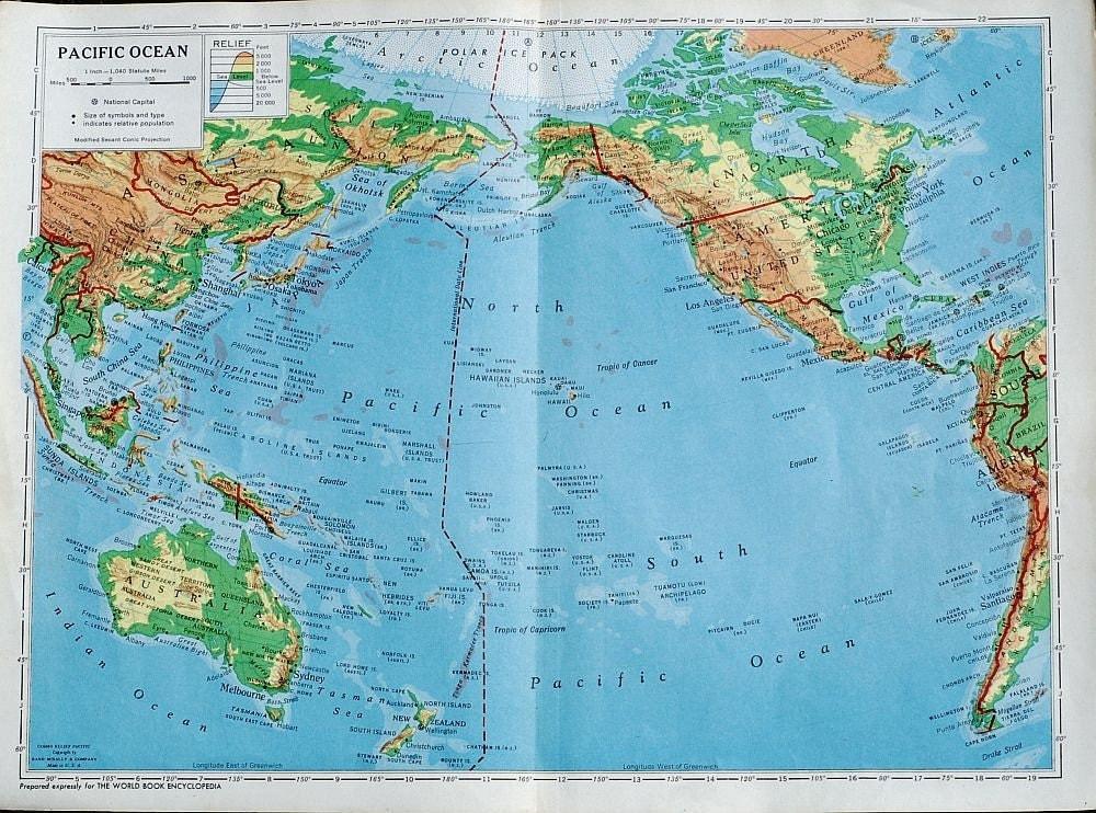 vintage map Pacific Ocean Pacific Ocean On Map