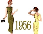 50s Sophisticated Wiggle Dress Vintage Sewing Pattern - 34 Inch Bust - Butterick 7653 from 1956