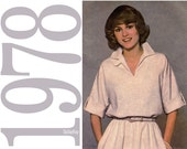 70s Cuffed Dress Vintage Pattern - B38 - Simplicity 8510 - Ideal for Beginners