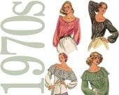70s Peasant Blouse Vintage Pattern B38 to B40 Butterick 5714 UNCUT