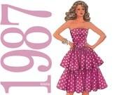 80s Tiered Dress Vintage Pattern - Size 6 8 10 - Simplicity 8117 - UNCUT Factory Folds