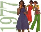 70s Shoulder Tie Dress Vintage Pattern with Top Pants and Jumper 32 Bust Simplicity 7866 UNCUT FF NOS