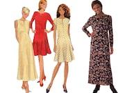 Misses Flared Dress Sewing Pattern - Size 10, 12, 14 -  Simplicity 7324 - Uncut, Factory Folds - Slash Neck Dress Pattern