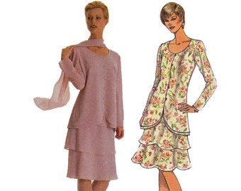 Tiered Dress Pattern - Size 18, 20, 22 -  Simplicity 8611 - Uncut, Factory Folds - Two Piece Dress Sewing Pattern - Skirt and Blouse Pattern
